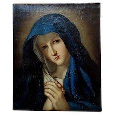 Madonna at Prayer - 18th century Study Italian Oil painting