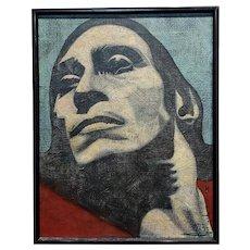 Mendij - Strong Male Face portrait - Oil  painting
