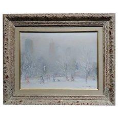 Johann Berthelsen -White winter in central Park -Oil painting