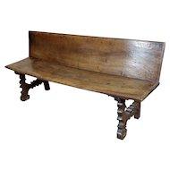 Spanish Baroque 17th century Walnut & Wrought Iron Bench