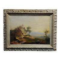 American Folk Art-Kids & Mammy outside a cottage-oil Painting-c1850s