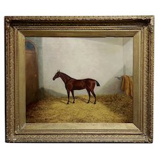 James Clark - Race horse in his Stall -19th century oil painting