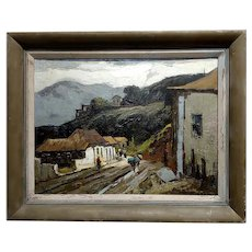 Donald McIntyre -Rural Village in the Highlands- Oil painting