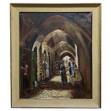 Jerusalem Old town -Orientalist oil painting -c1950s