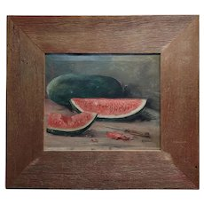 R. Barber - Still life with Watermelons -Oil painting c.1900s