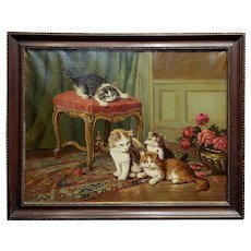 Cats playing in the living room-19th century oil painting