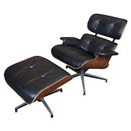 Plycraft Mid Century Modern Leather Lounge Chair & Ottoman-c1960s