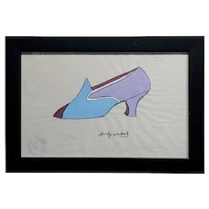 Andy Warhol - Watercolor Shoe illustration on paper -Signed