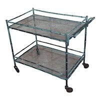Beautiful 1930s Faux Bamboo patinated bronze Serving Bar Cart Trolley
