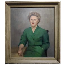 William Edwin Gebhardt -Portrait of a Lady in a Green Outfit-Oil painting-c1954