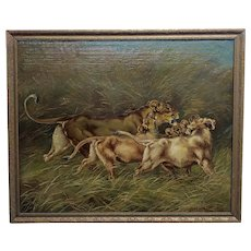 Paul Herzel -Lioness with her three Cubs - Victorian Oil painting