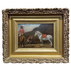 18th century - Horse & Riders -Oil painting