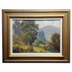 Oliver Glen Barrett -Beautiful Pasadena Eucalyptus Landscape- Oil painting c1920s