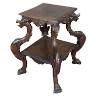 19th century Antique Oak Pedestal Table w/4 carved Dragons