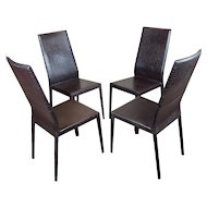 Cattelan Italia Side Chairs w/Faux Croco Leather -Set of 4