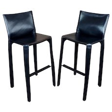 Cassina Cab 410 Mario Bellini Barstools -Black Leather-Set of 2