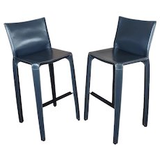 Cassina Cab 410 Mario Bellini Barstools-Grey Leather-Set of 2
