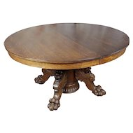 R.J. Horner Antique Tiger Oak Pedestal Table w/4 Dragons feet c1890s