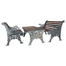 19th century Fabulous Cast Iron & Wood Patio / Garden 3 pieces Set