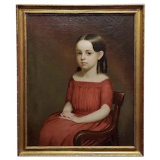 19th century portrait of a beautiful Girl in Red -Oil painting