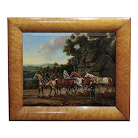 James Freeman -19th century Racehorses at the Saddle Inn-Oil painting
