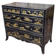 Antique English Chinoiserie black lacquered Five-Drawer Chest