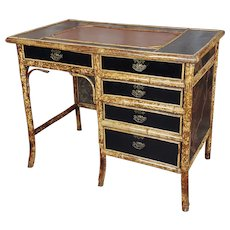 Victorian Lacquered Chinoiserie Bamboo & Leather top Desk
