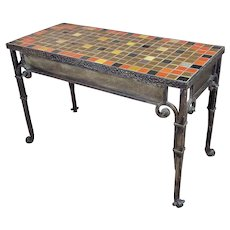 Bushere & Son Iron Studio Mosaic California Tile Entry Table