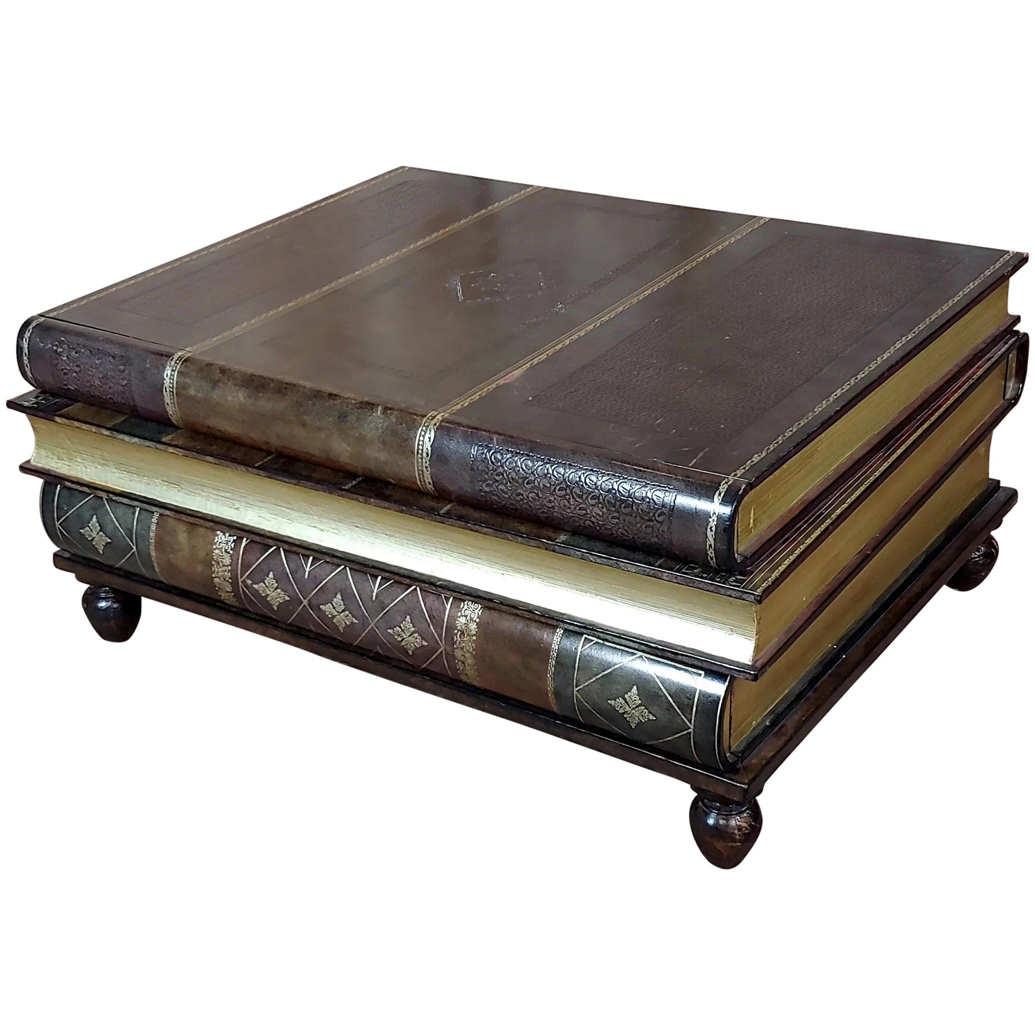 Maitland Smith Stacked Leather Books Form Coffee Table