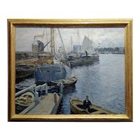 Ulrich Hübner - Boats in a crowded Harbor -Impressionist-Oil painting -c1906