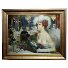 The High Society Dinner Party - Oil painting -Signed