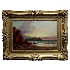 William Edward Webb - 19th century Coastal Beach Scene -Oil painting