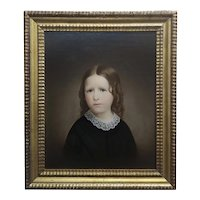 Portrait of a Girl with a Sad Face - 19th century Oil painting