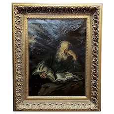 Portrait of a Patriarch Reading a Manuscript- 19th century Oil Painting