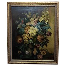 Still Life of Flowers in a Urn -19th century French Oil Painting -c1820/60s