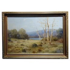 Quaint Pastoral Landscape by the Lake -19th century Oil painting