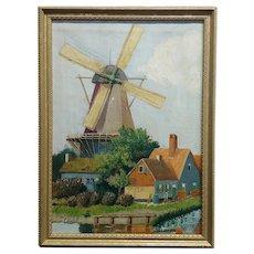 C. Busch - Beautiful Dutch Windmill - Oil painting