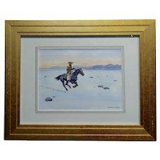 Leonard Reedy - Cowboy Winter Rider - Painting