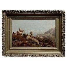 Robert Watson - Highland Sheep & Goats in a Scottish landscape - 19th century Oil painting