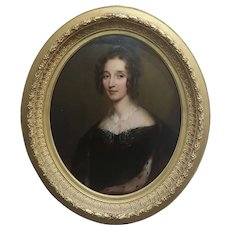 George Healy - Portrait of a Beautiful Aristocratic Lady-19th century Oil painting