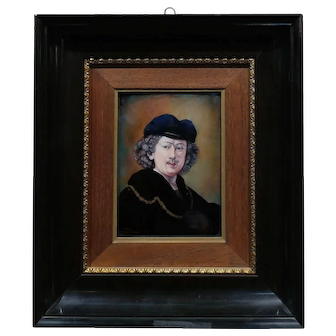 Faure Limoges - Rembrandt self portrait - French Enamel Painting on Copper