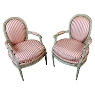 18th c. Louis XVI Beautiful Striped Upholstered Fauteuils Chairs
