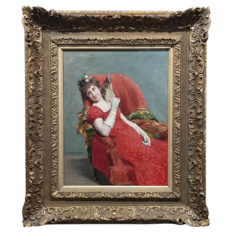 Jean Joseph Weerts -  Portrait of a Woman in Red holding a Fan- Oil painting c1880s