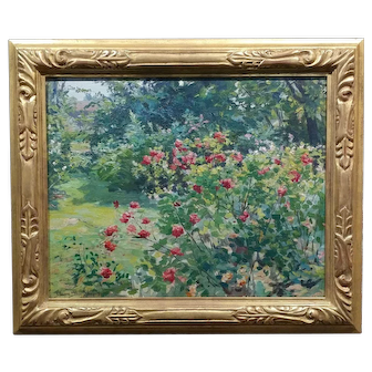 Claire Shuttleworth- Summer Garden w/Red Roses in bloom-Beautiful Oil painting -c.1910s