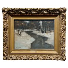 Wolmant - New England winter landscape -Oil painting c1910s