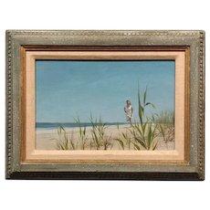 Alan Price -Girl Running on the Beach -Oil painting -1962