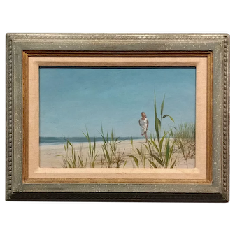 Alan Price -Girl Running on the Beach -Oil painting -1962