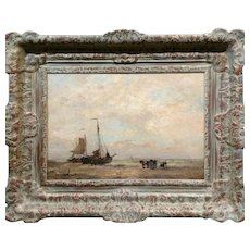 Fishing Boats & draught Horses on shore -19th century Dutch oil painting