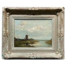 T. Brock - Dutch Windmill Landscape -19th century Oil painting