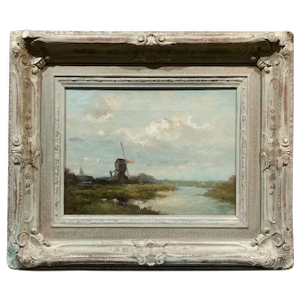 T. Brock - Dutch Windmill Landscape -19th century Oil painting